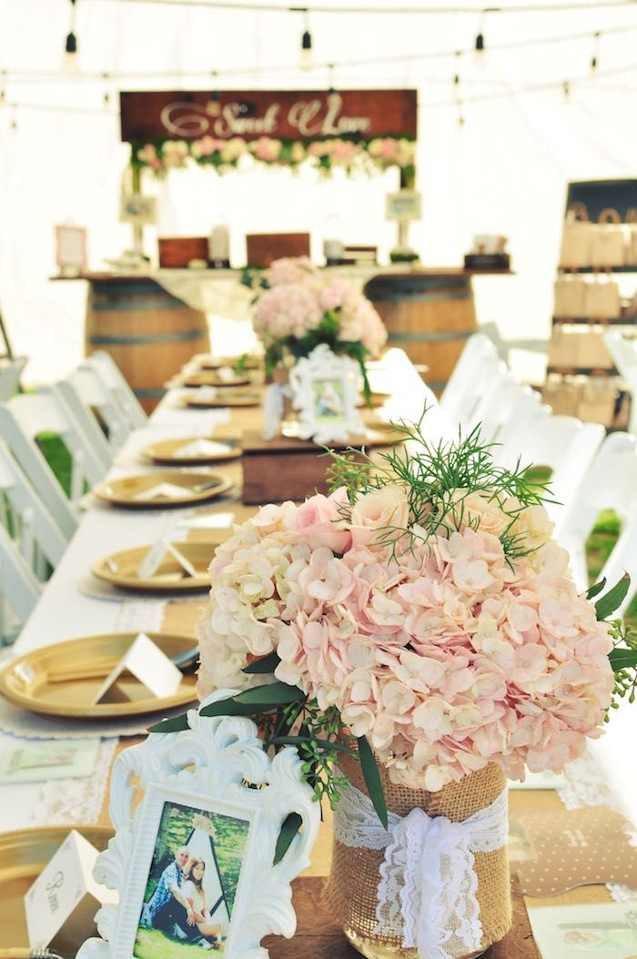 Good Engagement Dinner Party Ideas Part - 10: Dining Table + Centerpiece From A Rustic Chic Engagement Party Via Karau0027s Party  Ideas | KarasPartyIdeas