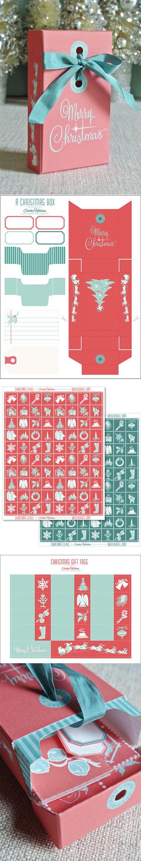 Colección de Navidad para imprimir gratis (plantilla caja, etiquetas ...