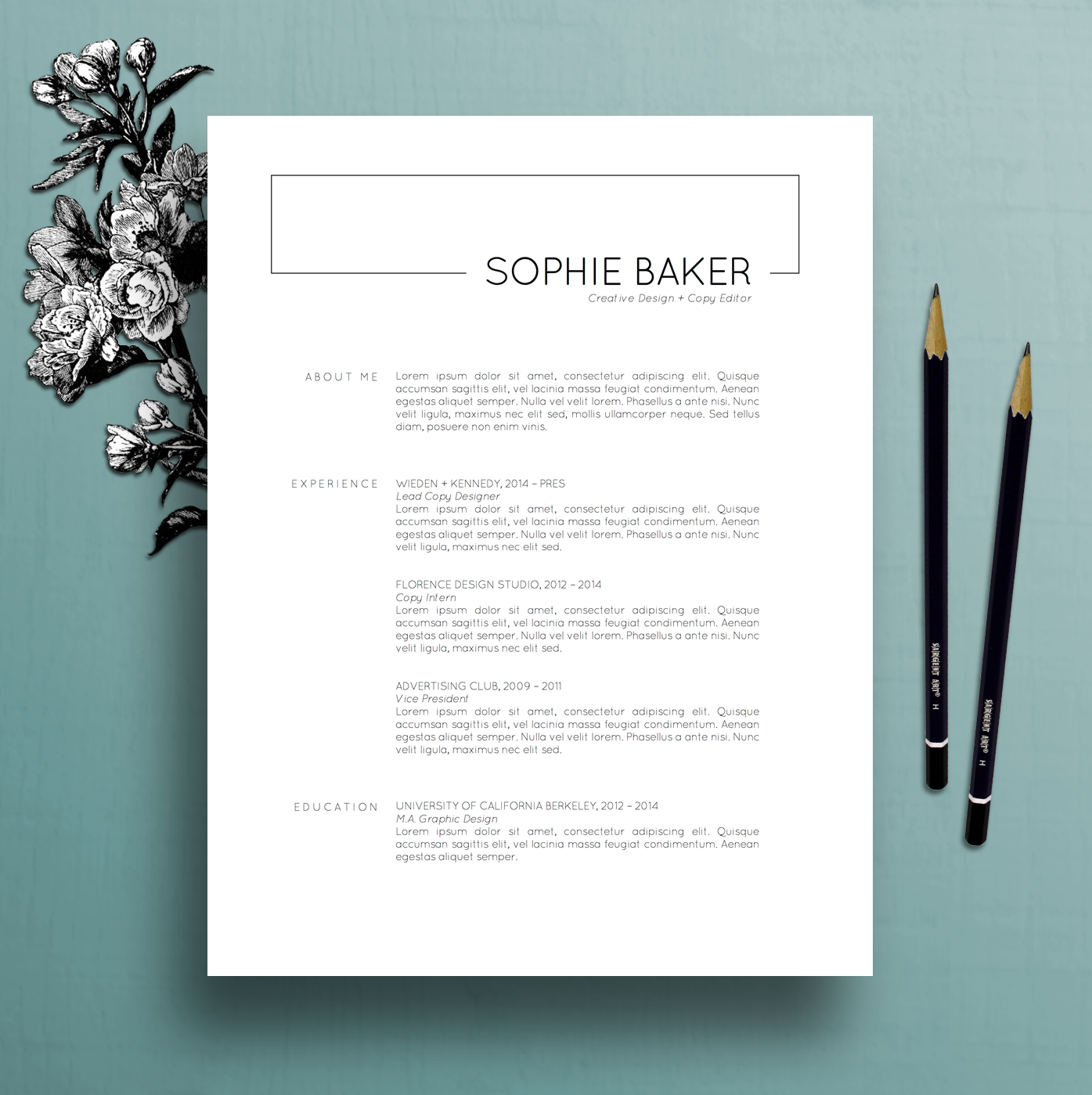 Modern Resume Template CV Cover Letter For MS Word Professional Instant Digital Download Mac PC Sophie