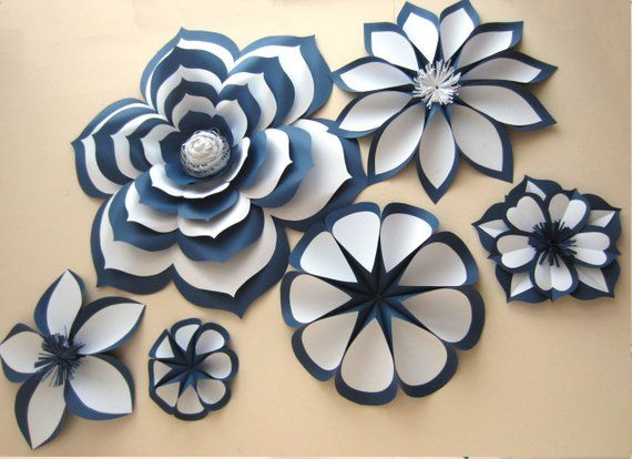 chanel inspired  large paper flowers  paper flower set