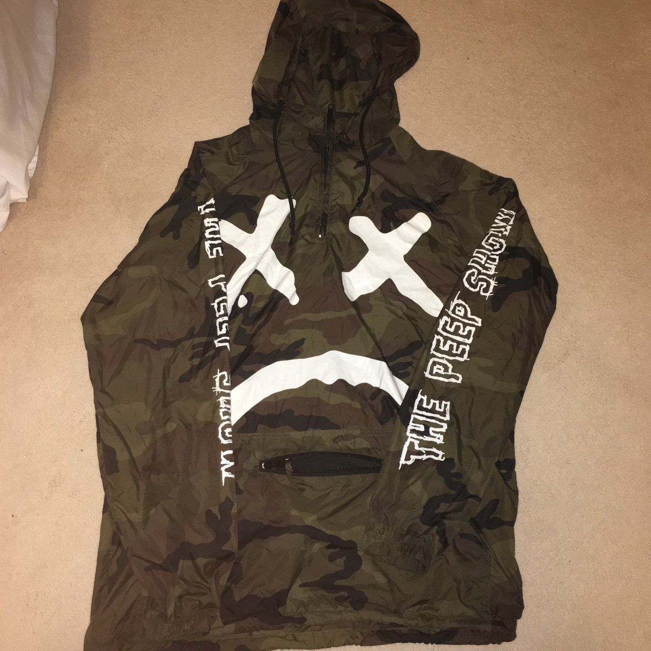 370319ee lil peep - the peep show windbreaker only one on depop (rare) size medium  worn a few times but no damage or signs of wear message me offers above £60  FTP,
