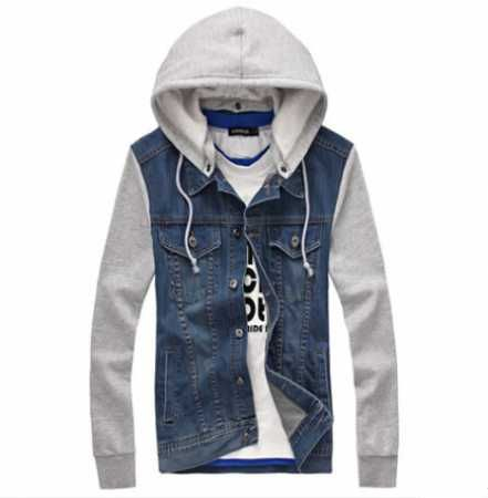 a8df5ed4d21 Fashion plus size jean jacket with hoodie for boys