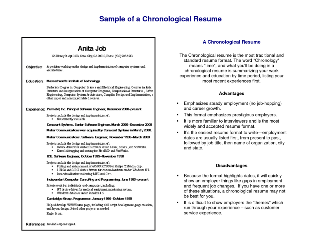 12 chronological resume samples examples 12 raichur pinterest