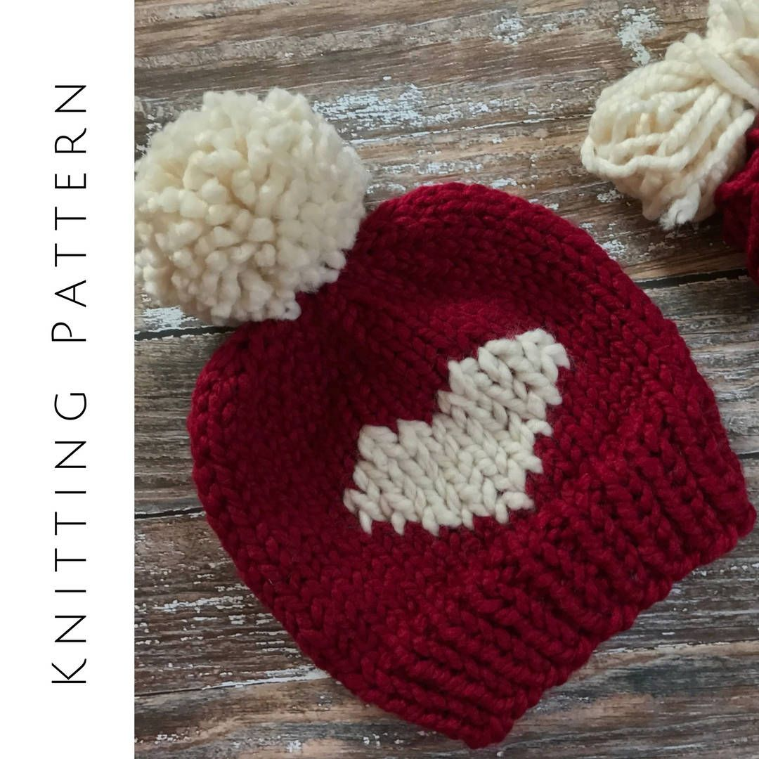 Blue Knit Baby Hat with Hearts Baby Boy Hat Classic Baby Beanie Baby Hat Fairisle Hat Baby Girl Hat