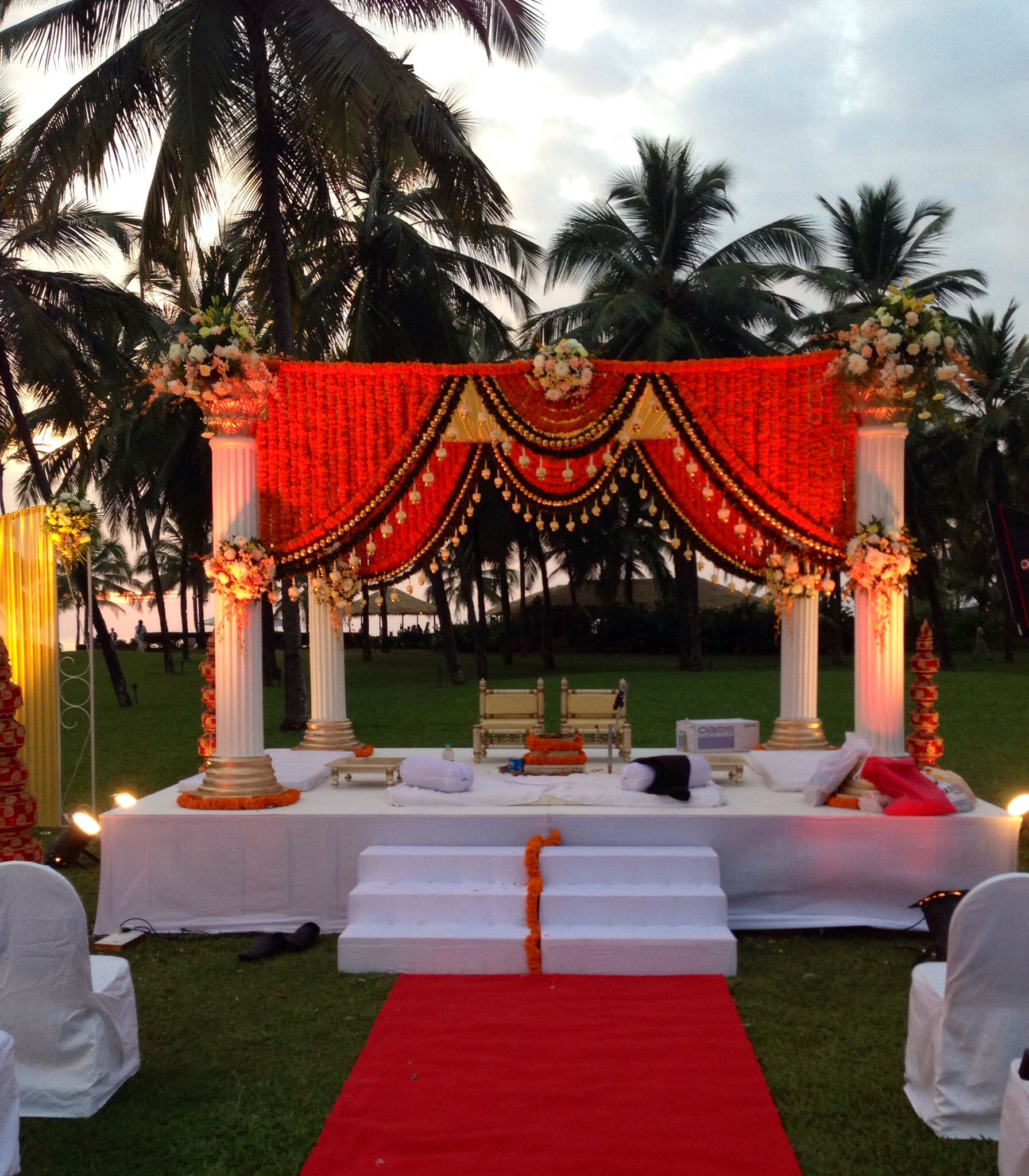 Hindu Wedding: Marigold Mandap, Wedding At The Leela Goa. Via Www.ankit