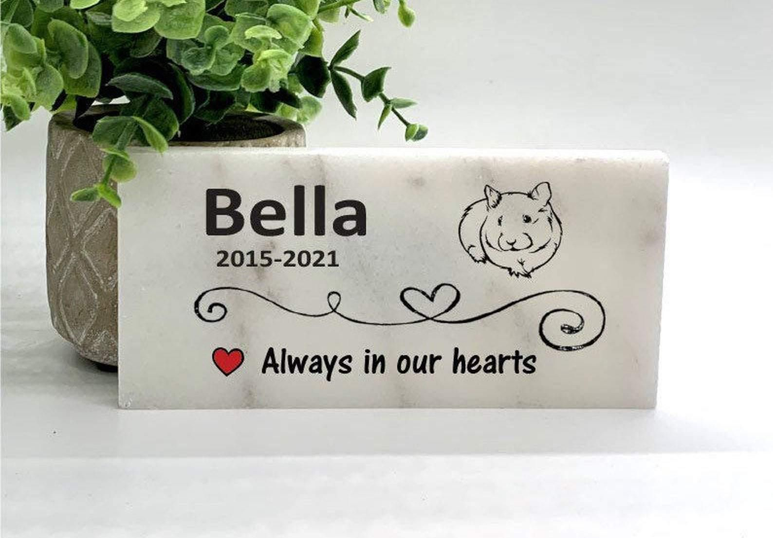 Photo of Guinea Pig Memorial Stone, Personalized Pet Memorial Stone – Marble 3×6 inches