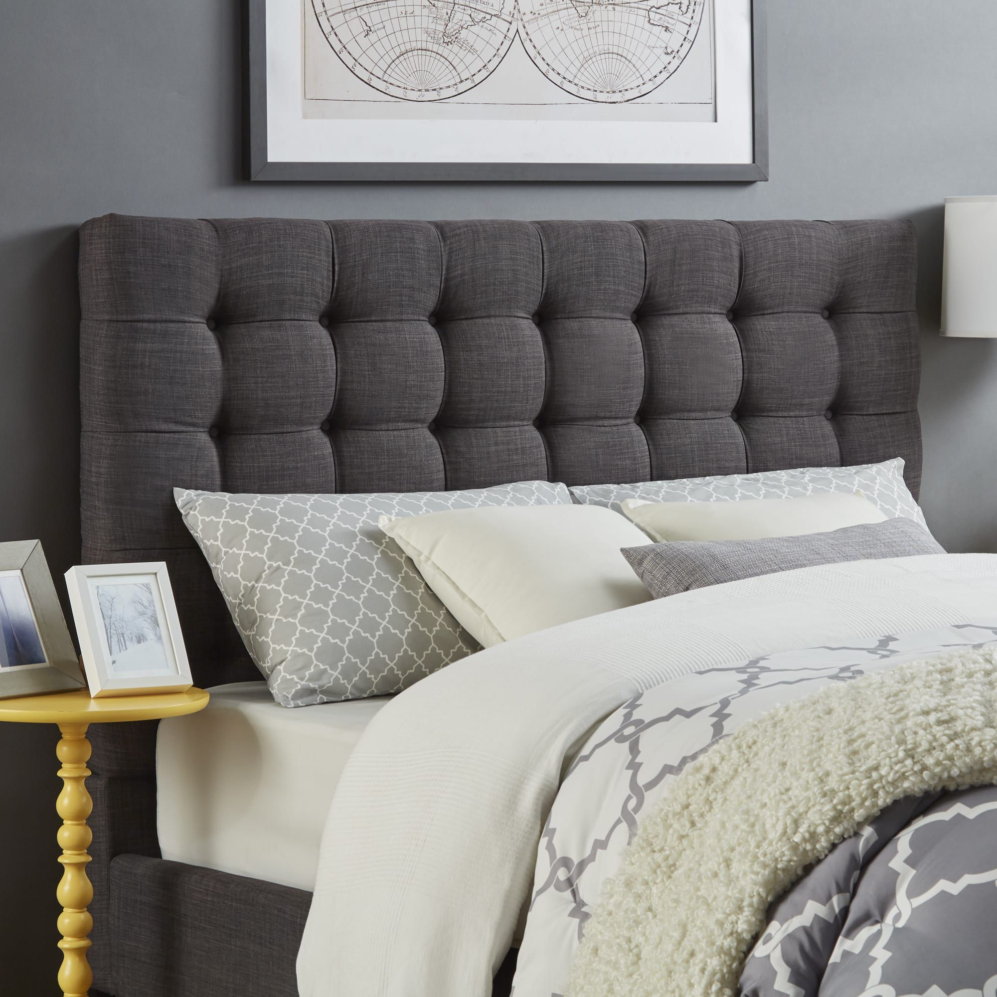 Briella Button Tufted Linen Upholstered Headboard iNSPIRE Q Modern (Grey  Linen King)