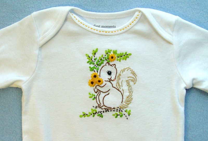 Sweet Little Squirrel - hand embroidered onesie with vintage embroidery design. $12.00, via Etsy.