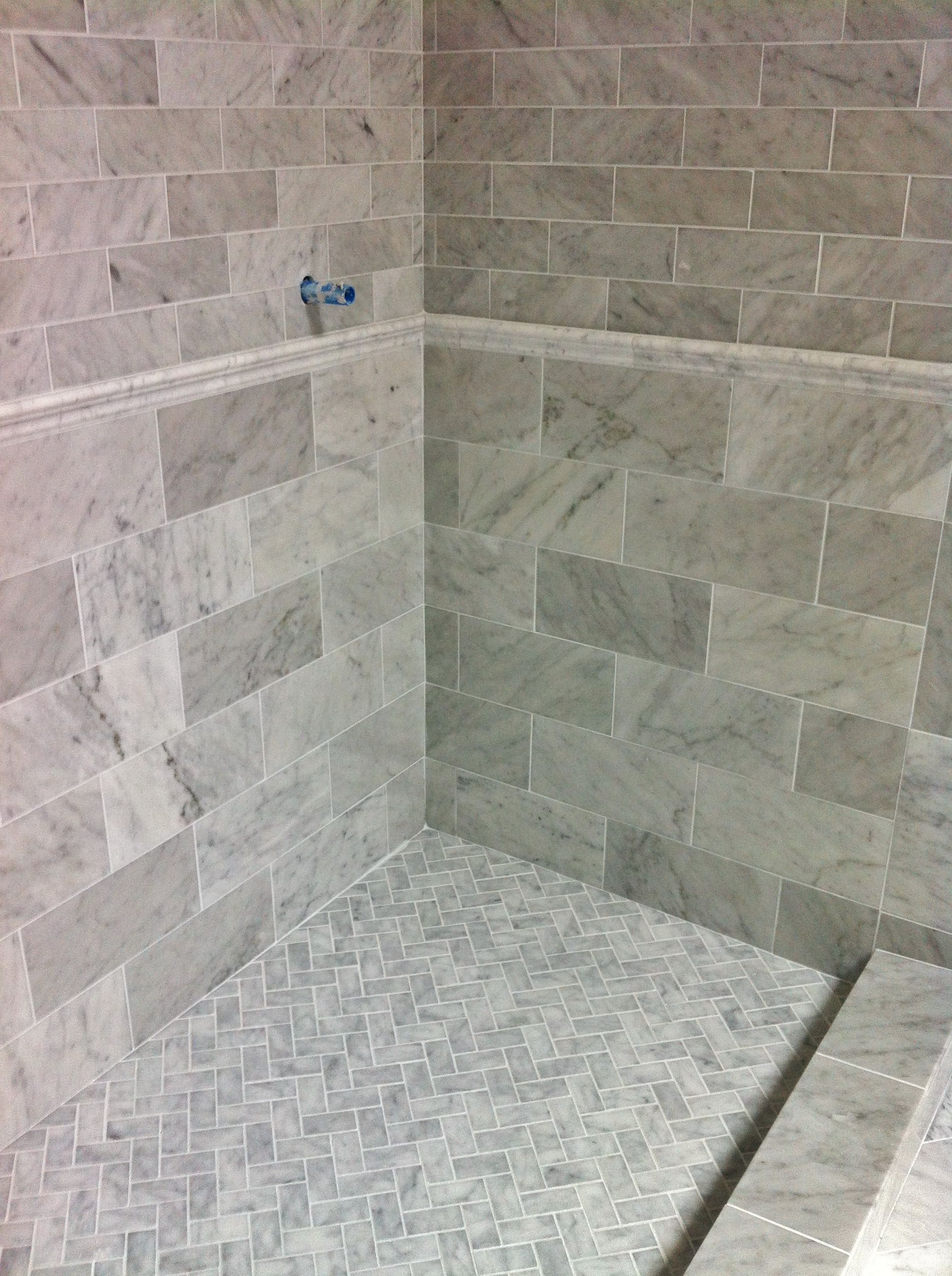 Beau Venetino Marble Shower Walls, Floor And Chair Rail Tile In This Master  Bathroom. Tile