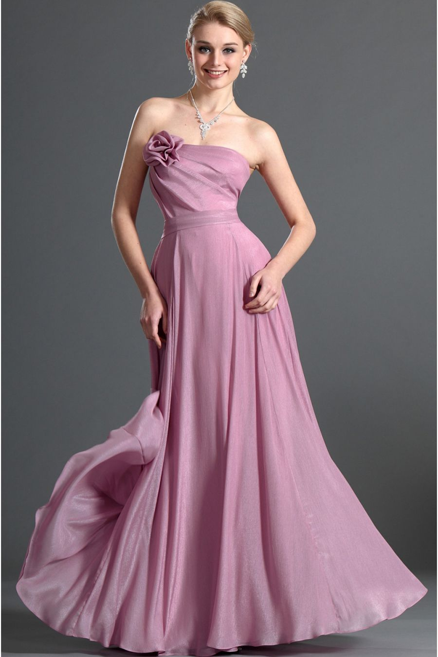 Hot Pearl Pink Chiffon Floor-Length A-Line Prom Dress | Long Prom ...