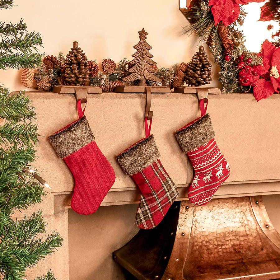 24 Mini Fair Isle Advent Stocking Decorations