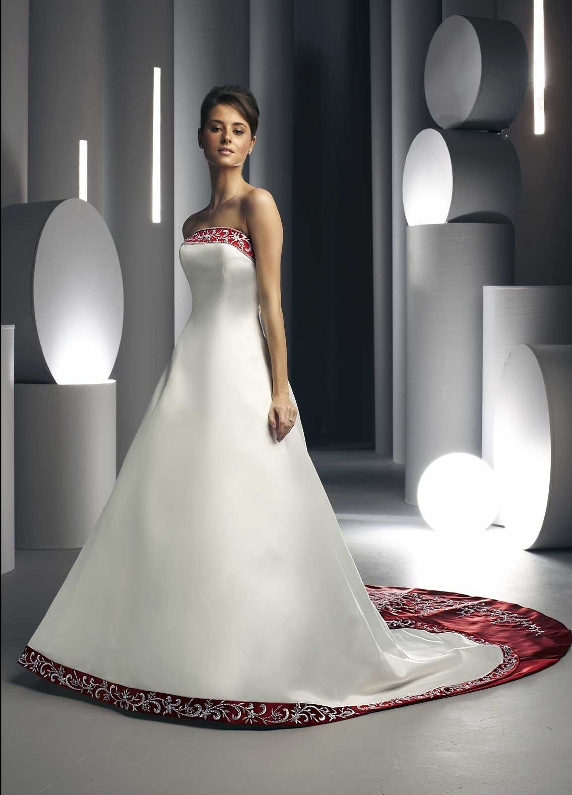 Elegant Red And White Satin Embroider Sweep Train Aline Wedding