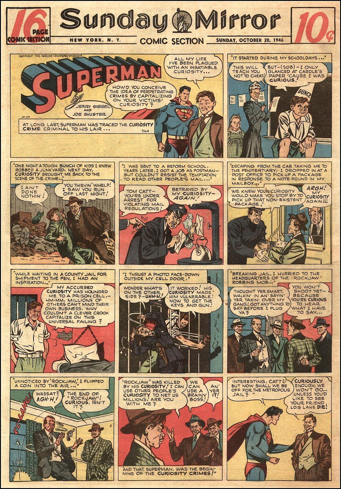 Superman comic http://goldenagecomicbookstories.blogspot.com/2012/02/superman-handful-of-sunday-strips-1945.html