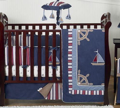 Nautical Nights Boys Sailboat Baby Bedding 9 Pc Crib Set Beach