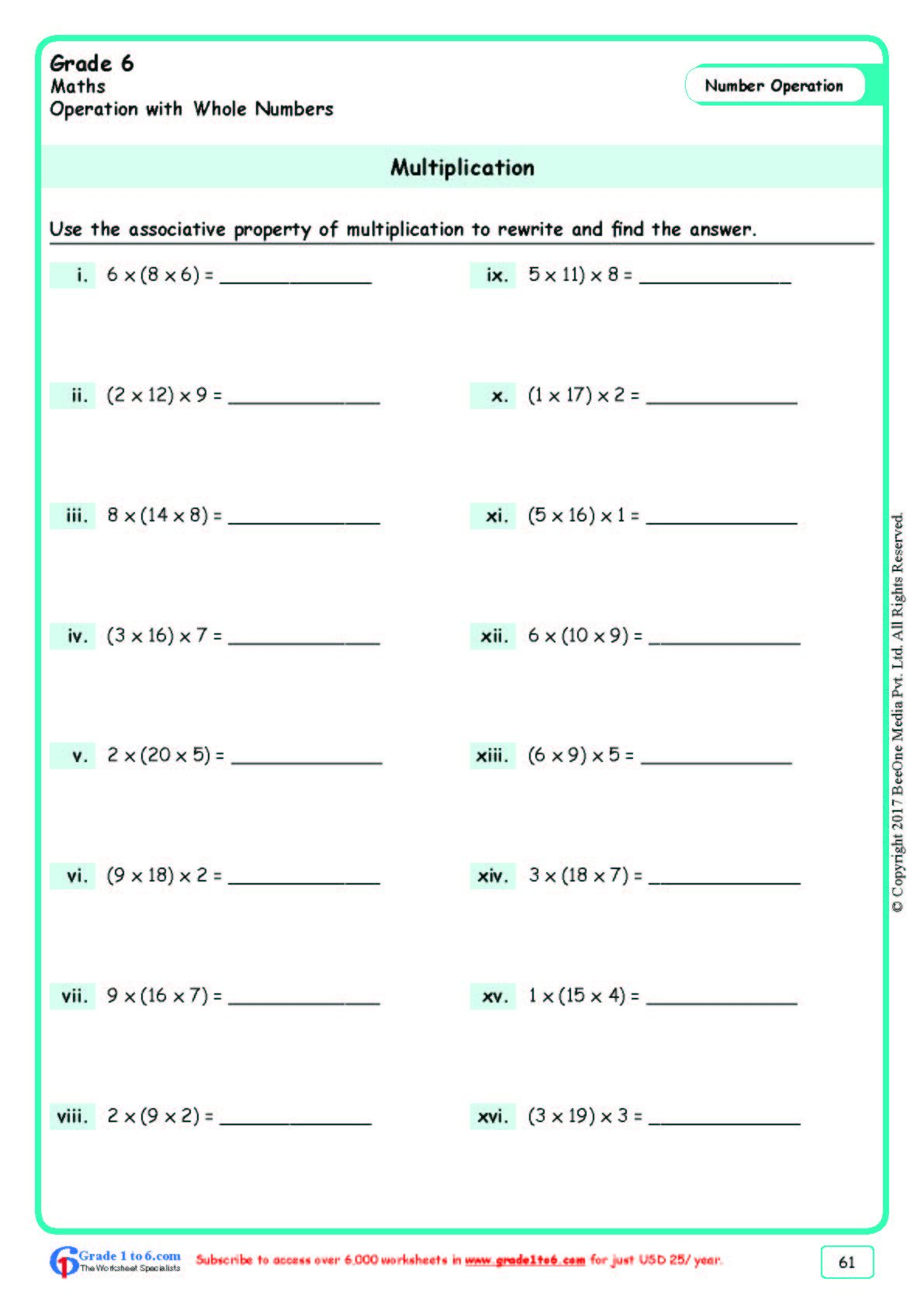 Worksheet Grade 6 Math Multiplication In