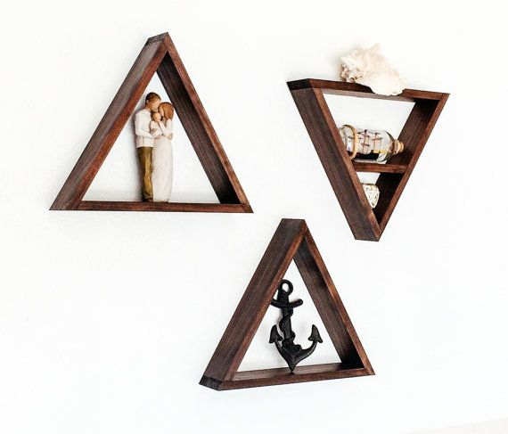 Geometric Triangle Wood Shelves - Set of 3 - Custom Made in Your Choice of Stain Color (Dark Walnut displayed)