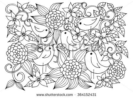 Black And White Floral Doodle Coloring Pages For Book Vector Line Art Floral Doodle Coloring Pages Doodle Coloring