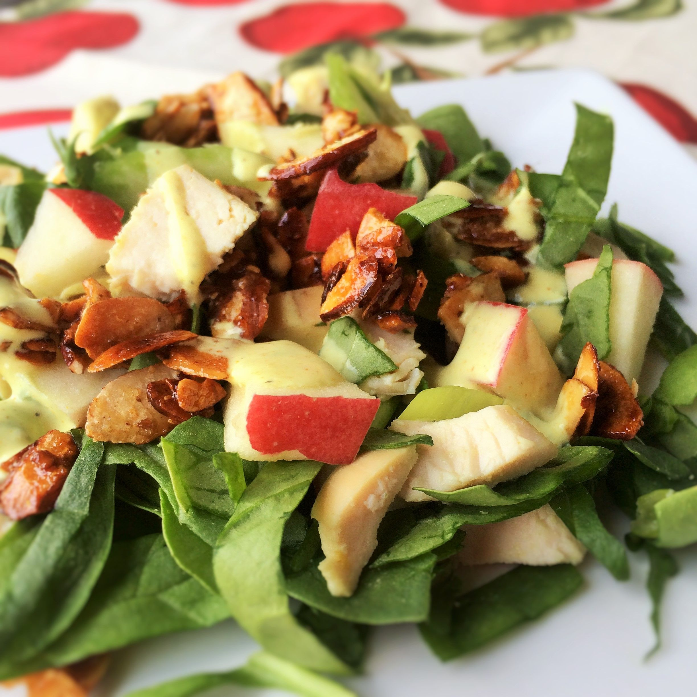 Chopped Chicken, Apple And Spinach Salad With Creamy Curry