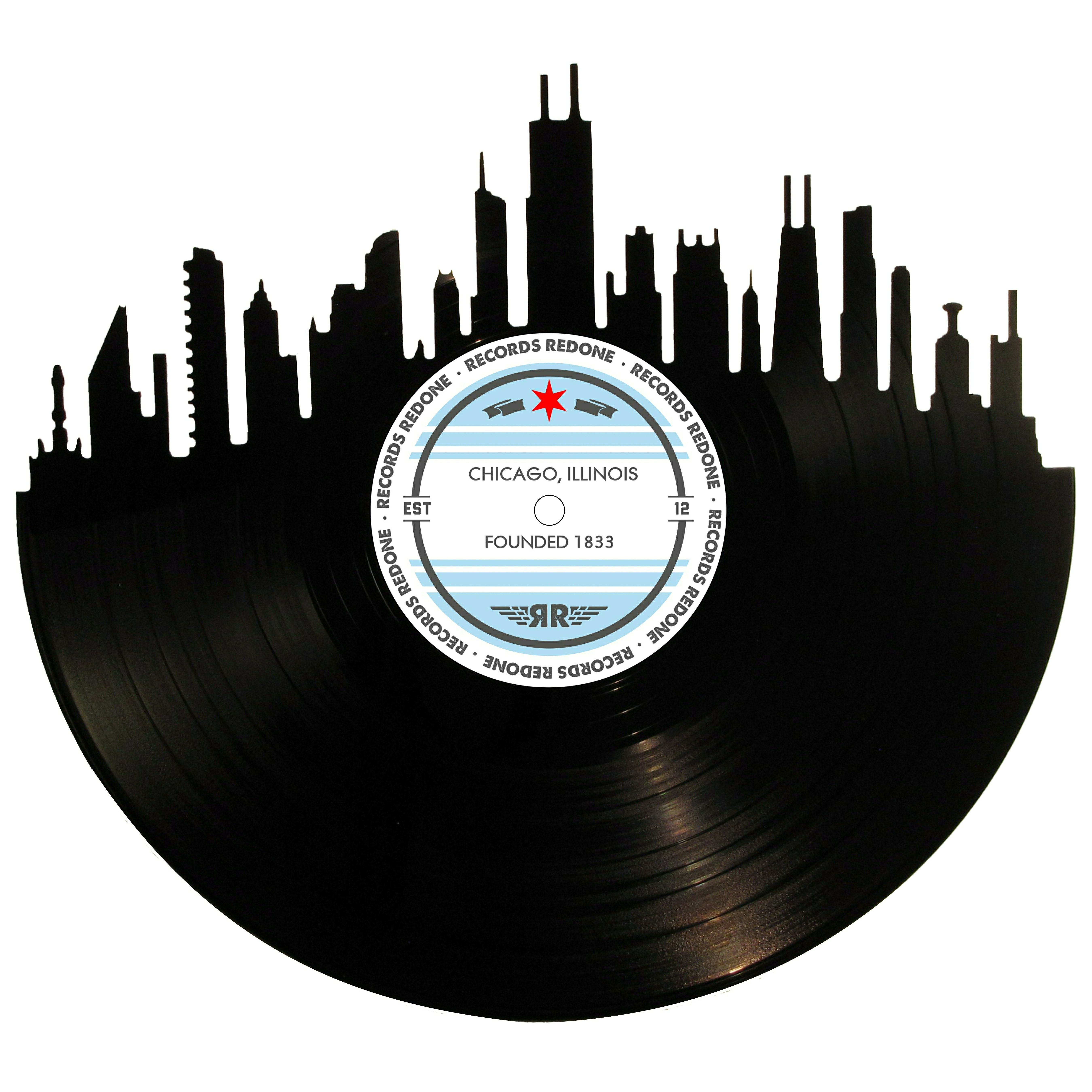 Chicago Skyline Vinyl Record Art & Other Cities Available ...