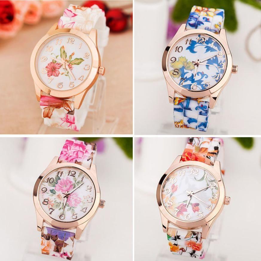 2018 Top Brand New Luxury Women Watch Reloj Rose Flower Print