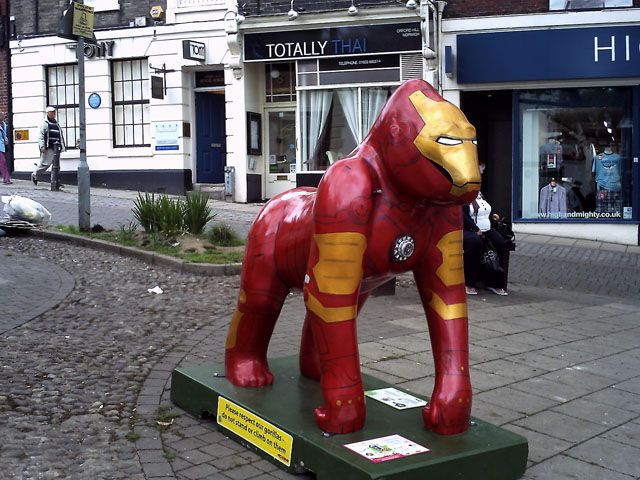 Iron Man Gorilla Sculpture at GoGoGorillas Exhibition in Norwich, UK