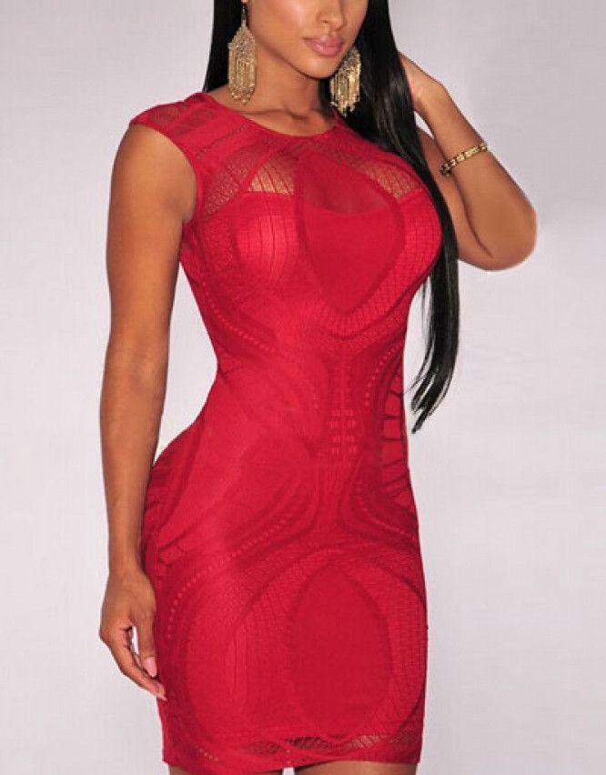 da71b8e223 Hot Red Lace Zapara Bodycon Dress