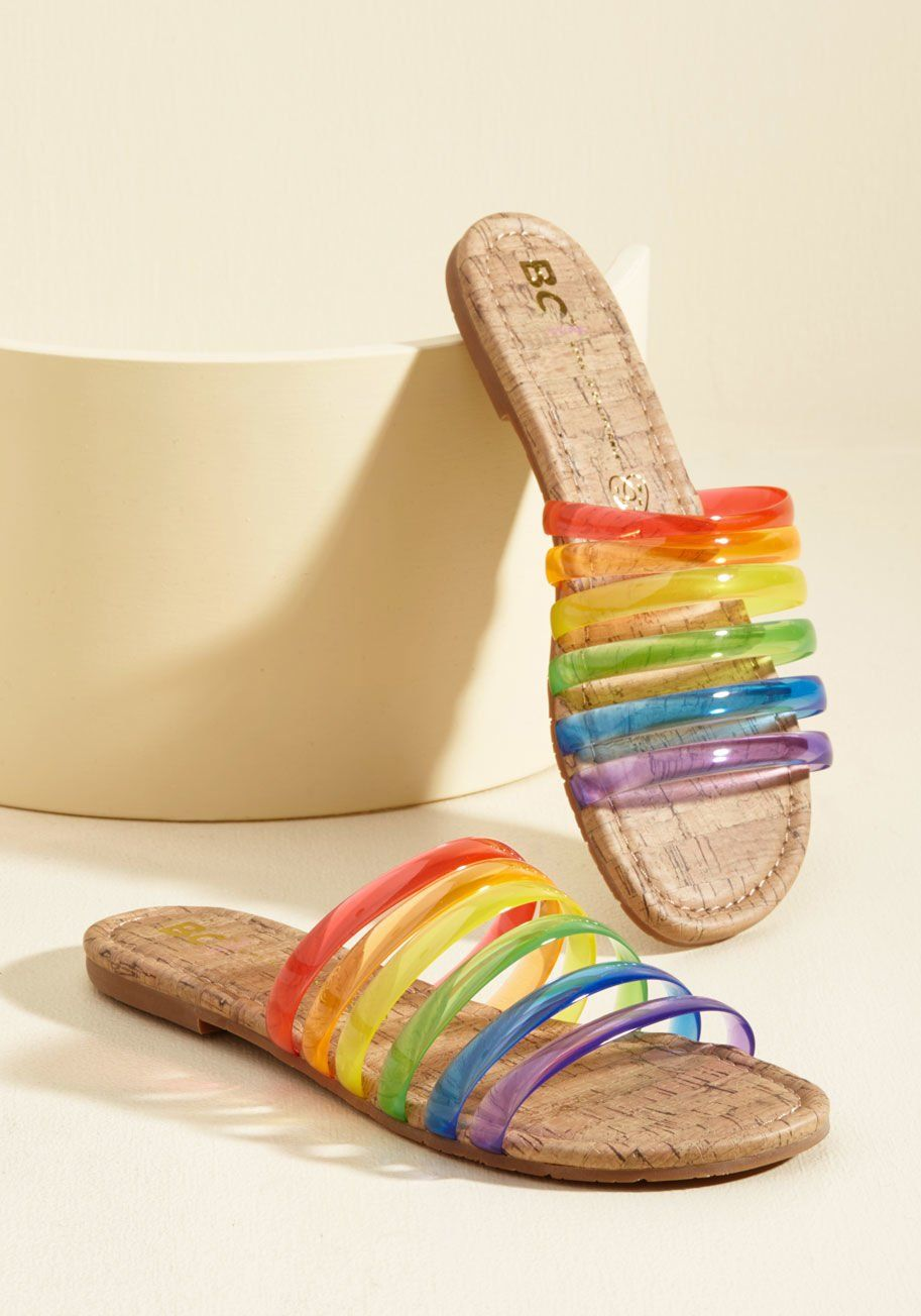 fe5a5f8768e5 Color Me Casual Sandal in Rainbow - Let these rainbow sandals proclaim your  favor for a day spent frolicking! BC Footwear serves up these sassy slides  with ...