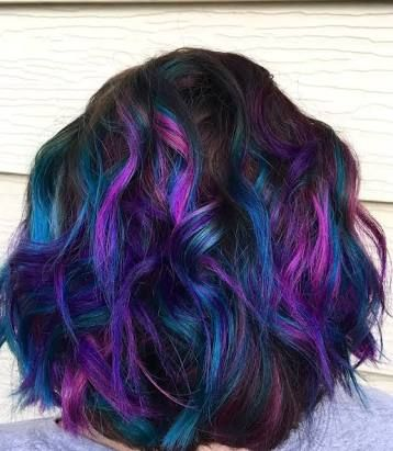 Image Result For Pink Purple Turquoise Short Hair Peacock Hair Color Hair Styles Lilac Hair