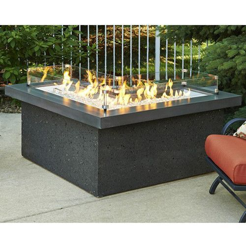 The Pointe L-Shaped Crystal Fire Pit Table With Midnight Mist Supercast Top And Black Tereneo Base