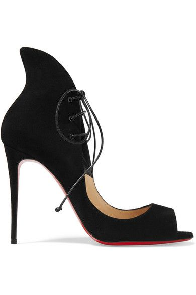 Heel measures approximately 100mm/ 4 inches Black suede Ties at ankle Made in Italy