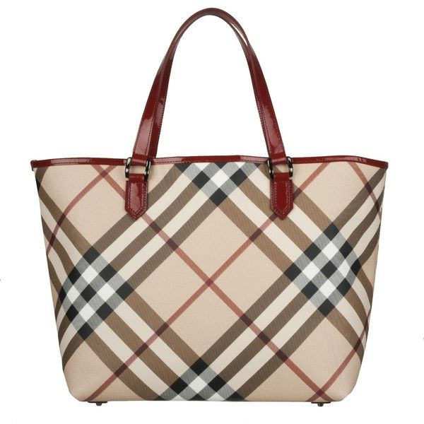 ba19eb9a4aec Burberry 3753178 Nova Check Large PVC Tote Bag ( 500) ❤ liked on Polyvore  featuring bags