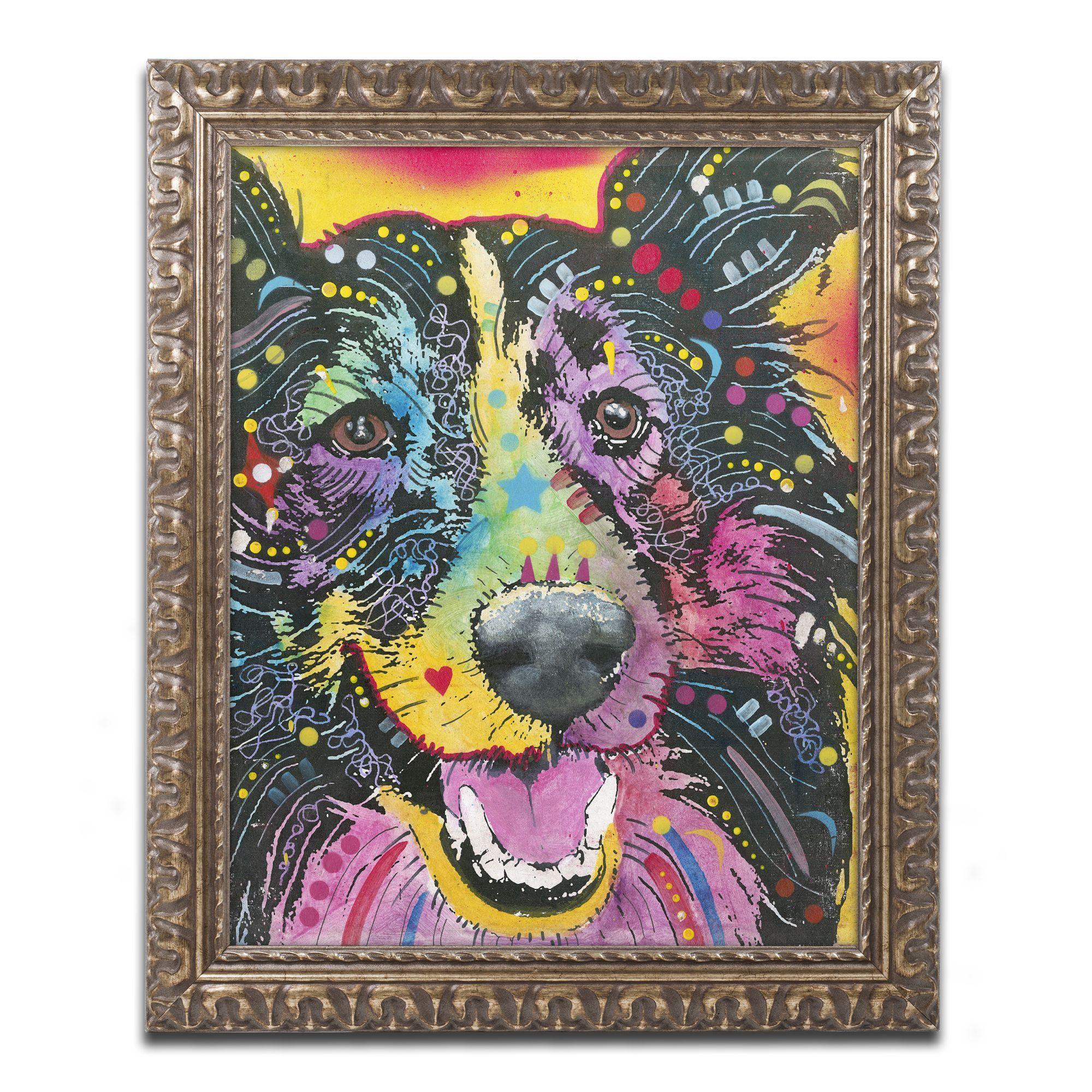 Dean Russo 'Smiling Collie' Ornate Framed Art