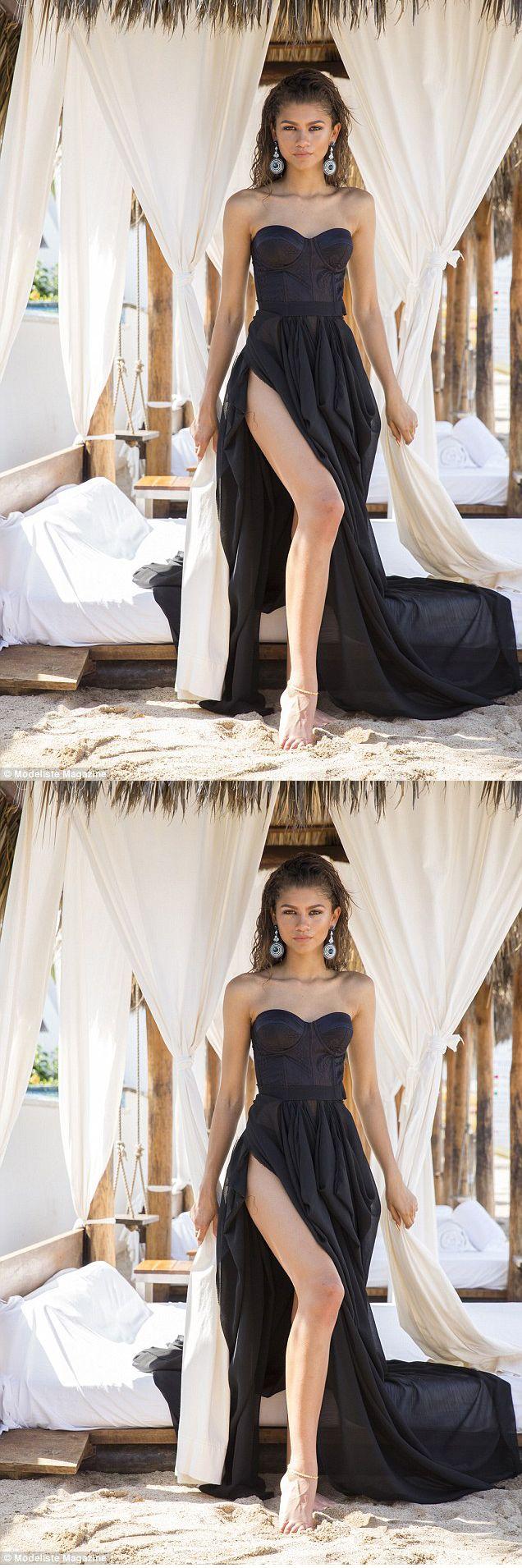 Sweetheart split front black chiffon long prom dress promdresses