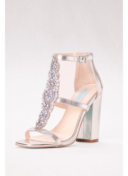 c3d180b9e2b7 Crystal T-Strap High Heel Sandals with Block Heel SBLYDIA