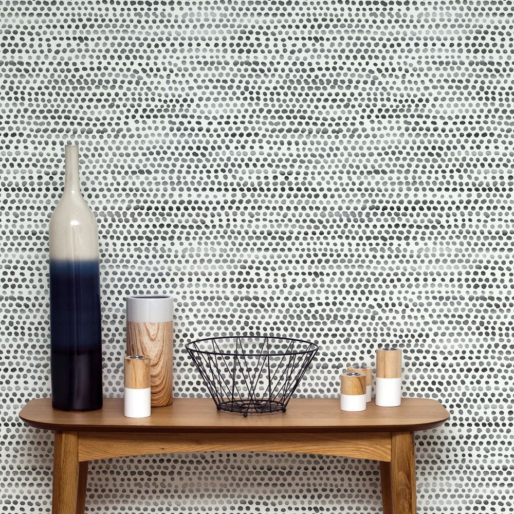 Moire Dots Removable Wallpaper Black And White Wallpaper Peel And Stick Wallpaper