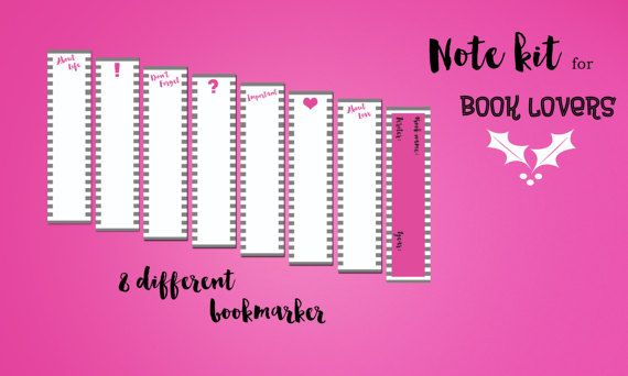 Bookies for Booklovers - Printable bookmarks for taking notes - notebook paper download