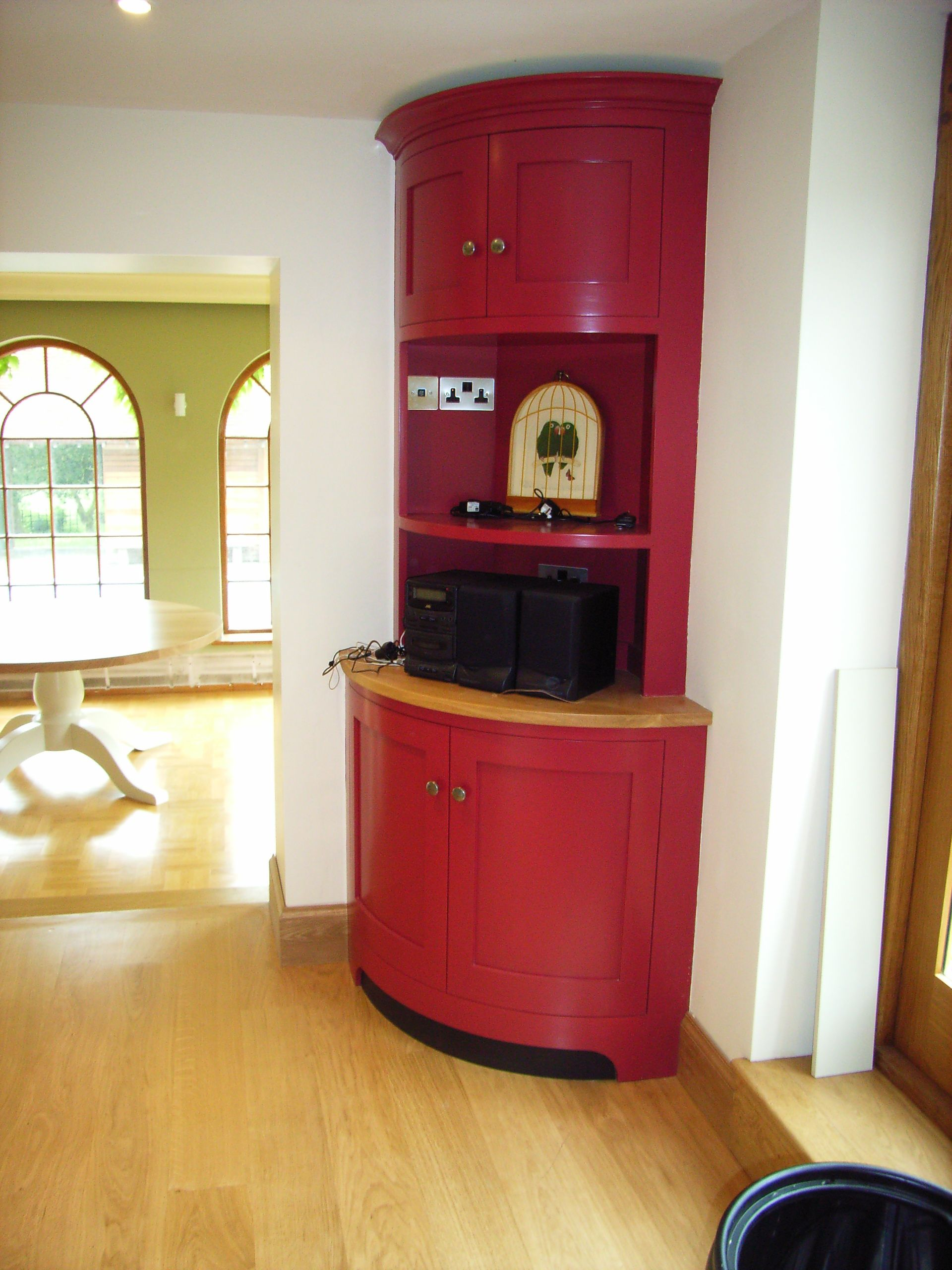 Round corner cabinet in red   Traditional kitchen, Home ...