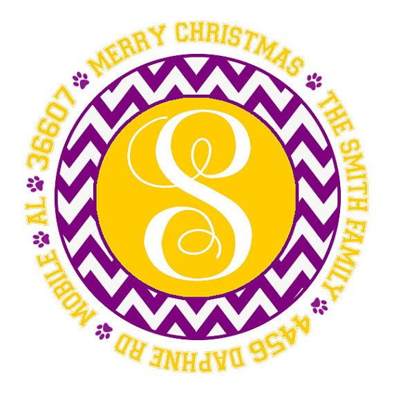 LSU Purple Gold Initial Pawprint Address Labels Or Gift Stickers By MemoriesToo 800