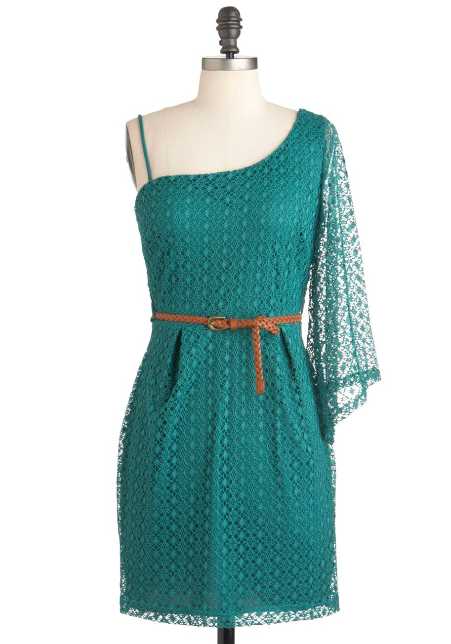 Teal Summer\'s End Dress - Green, Crochet, Party, Casual, A-line ...