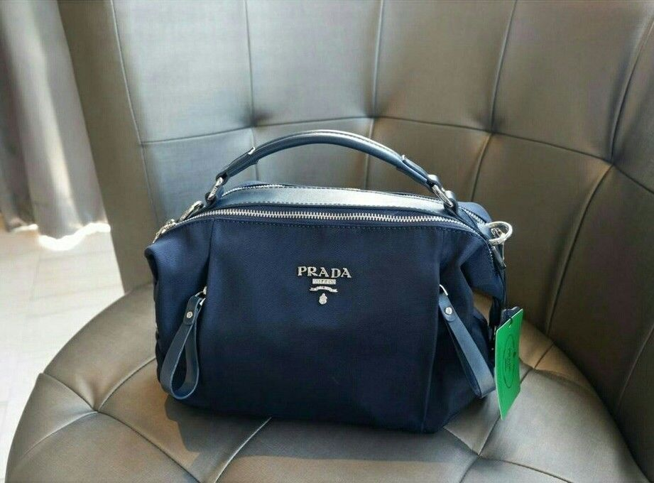 Authentic PRADA Matte Canvas Leather Navy Blue Mini tote   Shoulder Bag   315.0