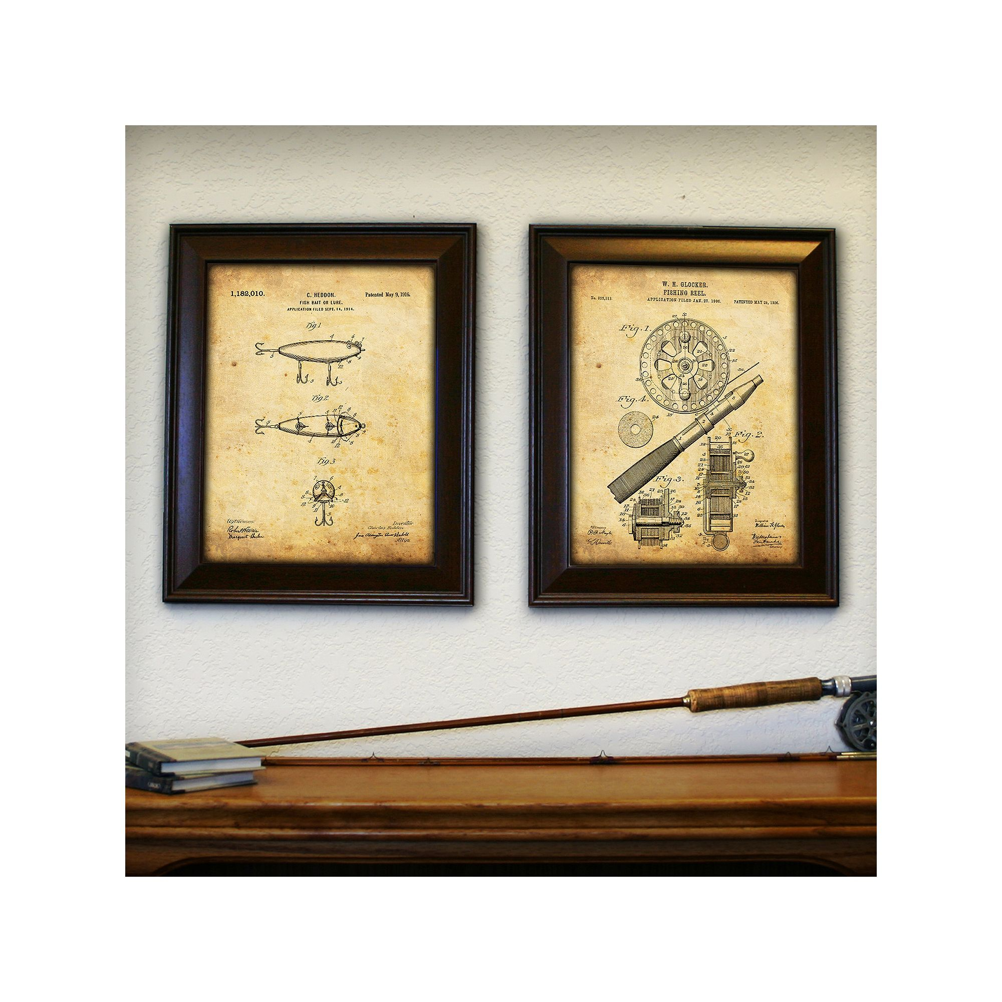 Personal-Prints \'\'Fishing\'\' 2-piece Framed Wall Art Set | Framed ...
