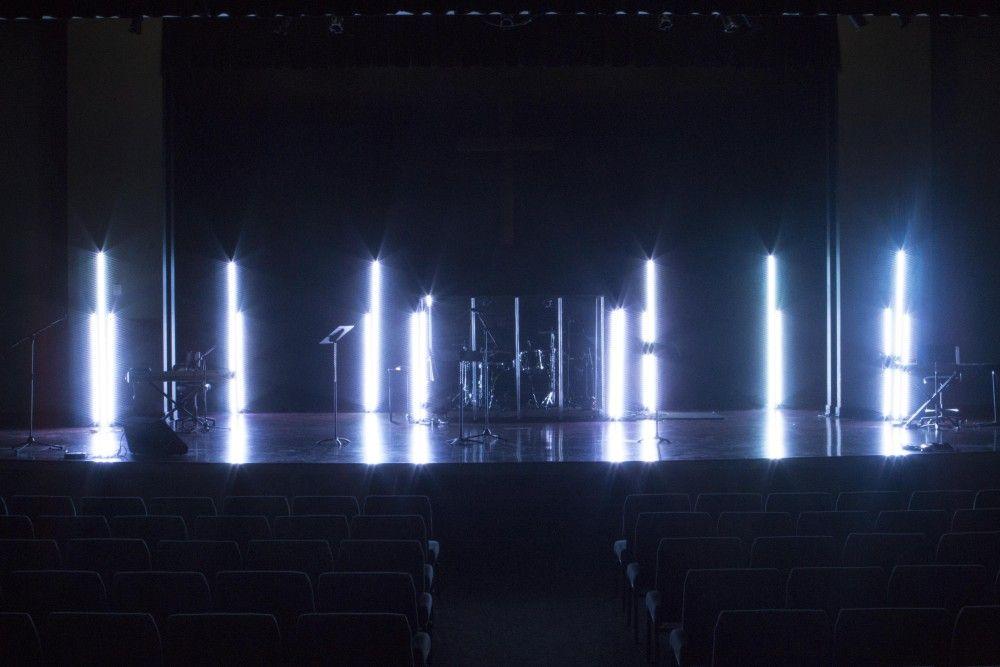 White Poles Stage Lighting Design Church