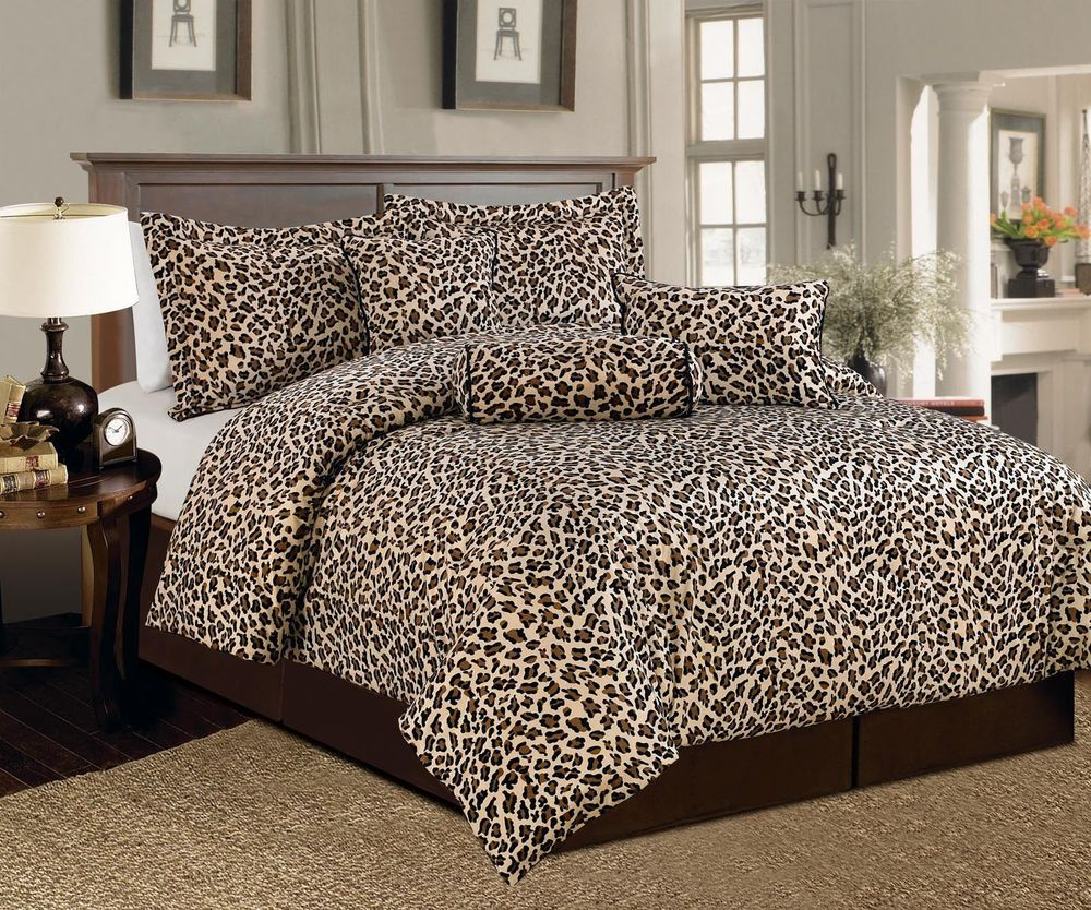 7 Pcs Brown Beige Leopard Print Faux Fur Comforter Bedding Set