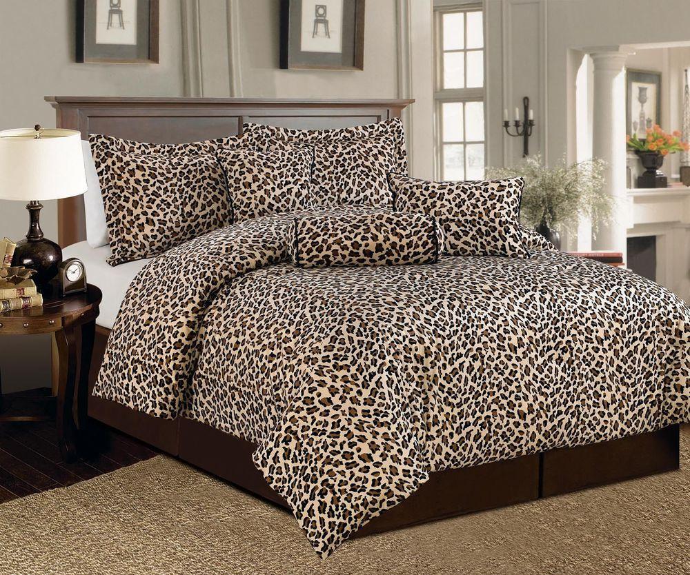 7 Pcs Brown Beige Leopard Print Faux Fur Comforter Bedding Set