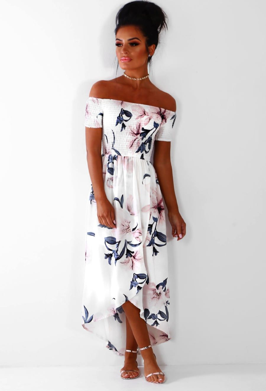 d7de8b0da488 Jamaica Goddess White Floral Bardot Maxi Dress - 6