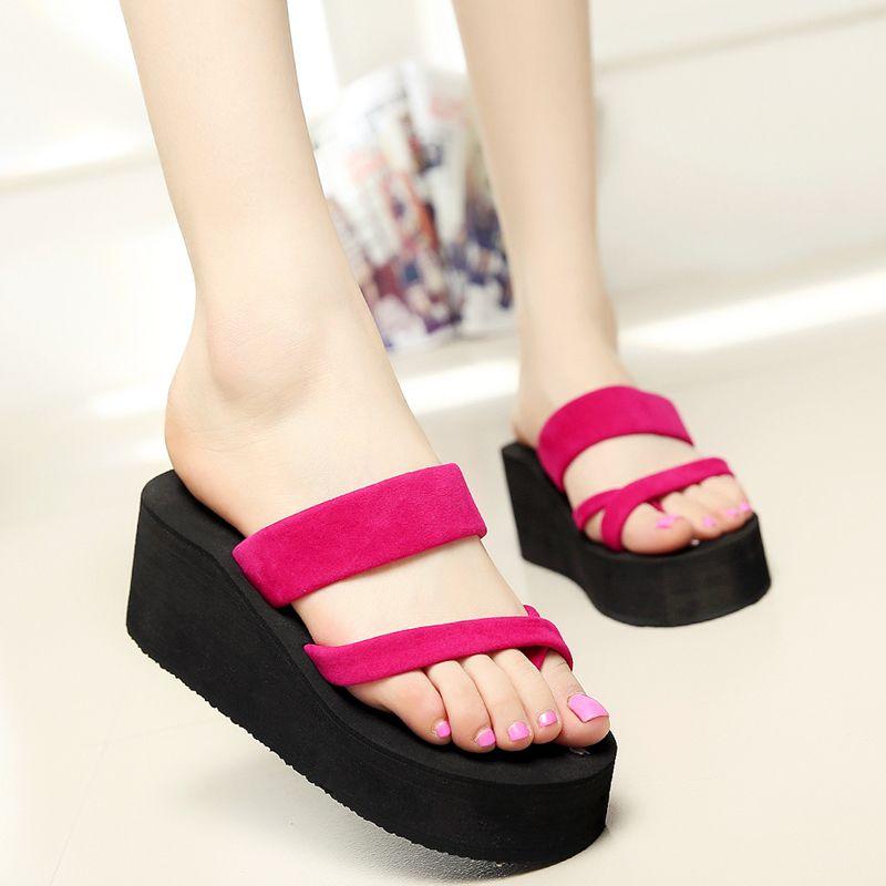 e4cf8cc0d083 2017 New Fashion Summer Women Wedge Platform Thong Flip Flops Sandals  Casual Slippers Beach Shoes Outdoor