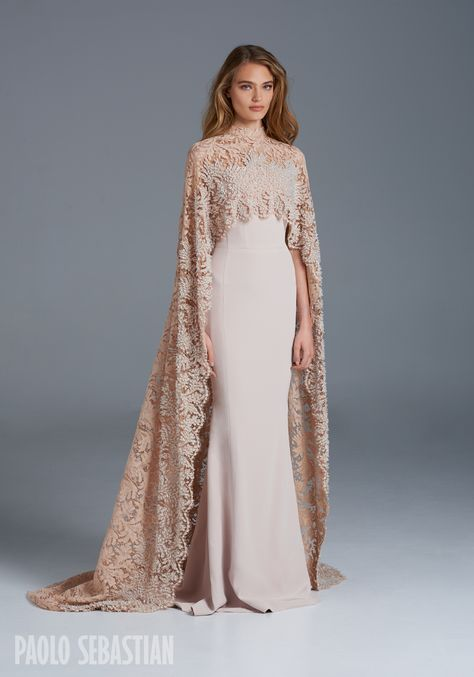 PSS/S1605 - Silk fishtail gown with Sophie Halette beaded lace cape ...