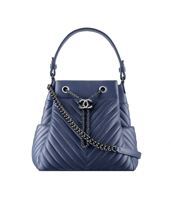 2f1b363e71f6 Chanel Blue Chevron Medium Drawstring Bag