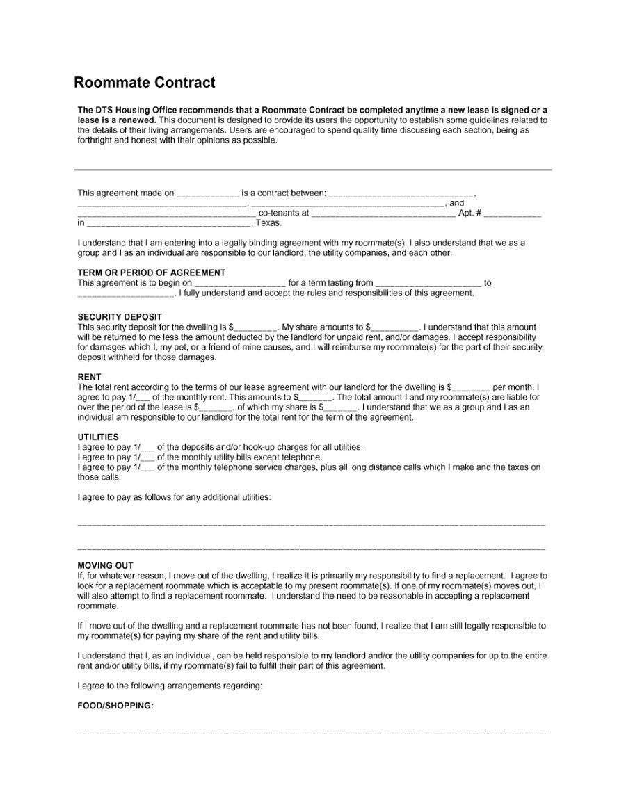 40+ Free Roommate Agreement Templates & Forms (Word, PDF