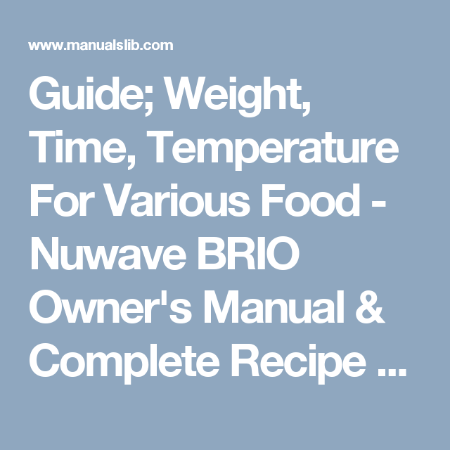 Guide Weight Time Temperature For Various Food Nuwave Brio Owner S Manual Complete Recipe Book Page 11 Complete Recipe Nuwave Recipe Book